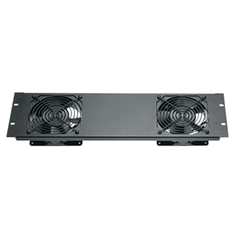 3U Quiet Fan Panel Assembly w/ (2) Fans - Black Brushed Anodized