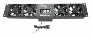 "Middle Atlantic 2U Ultra Quiet Fan Panel w/ (2) 4.5"" Fans + LED Display from Cases2Go"